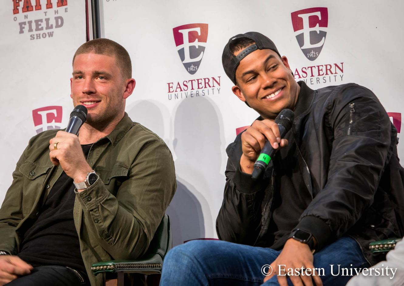 Zach Ertz and Jordan Hicks at Faith on the Field